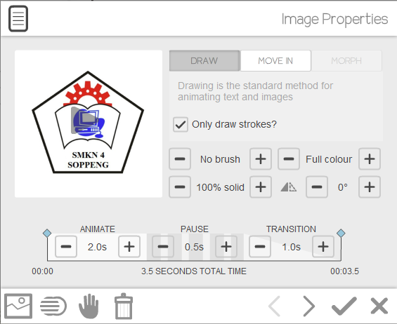 image properties video scribe